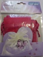10 x Cerise Wedding Favour Organza Bags. 100mm x 75mm.